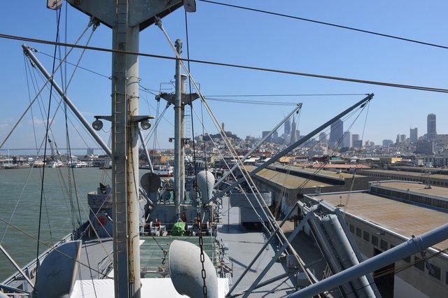 SS Jeremiah O'Brien and San Francisco skyline