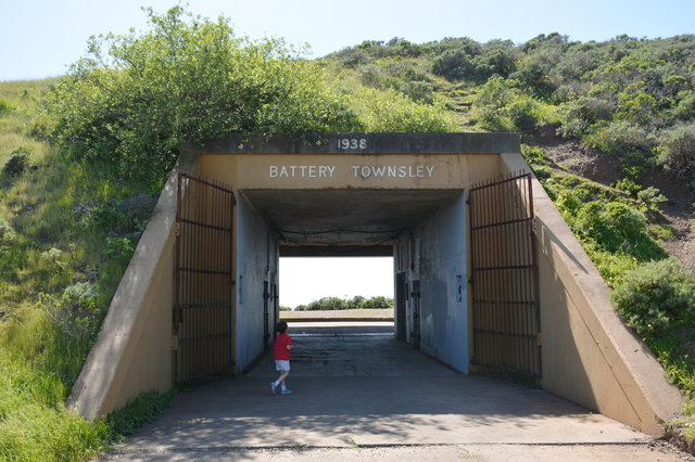 Calvin walks inside Battery Townsley