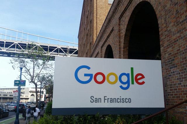 Google San Francisco sign at Hills Plaza