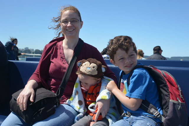 Kiesa, Julian, and Calvin on the ferry to Sausalito