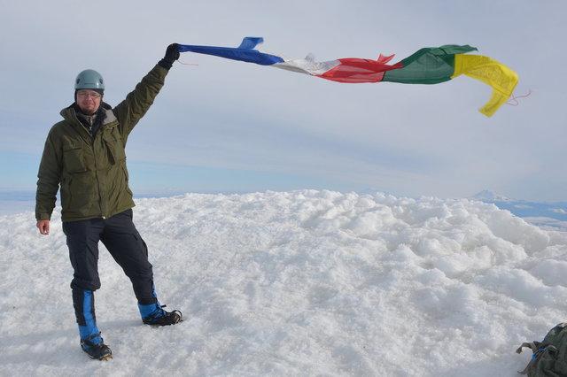Jaeger on the summit of Mount Hood