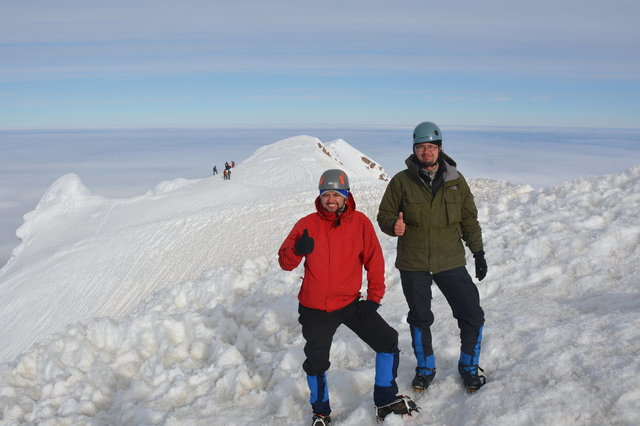 Willy and Jaeger on the summit of Mount Hood