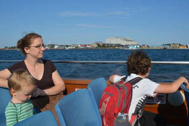Julian, Kiesa, and Calvin on a canal boat tour