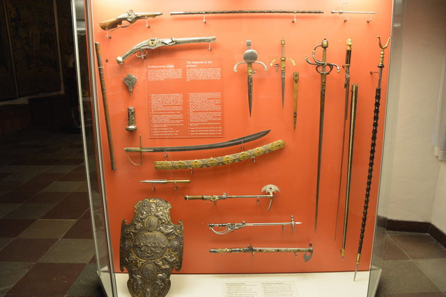 Display case of weapons