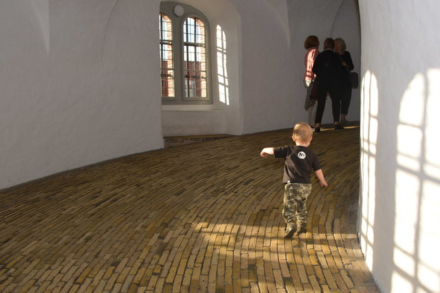Julian climbs up the ramp at the Round Tower