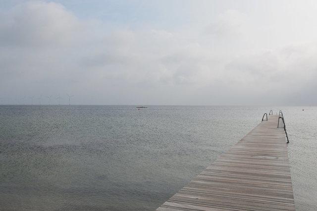 Swimming pier and Øresund Straight at Amager Strandpark