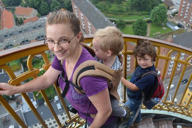 Kiesa, Julian, and Calvin climb the spire of the Church of Our Saviour