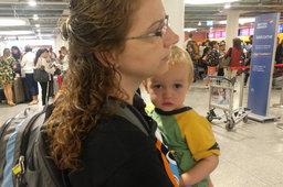 Kiesa and Julian queue to check in at Copenhagen Airport