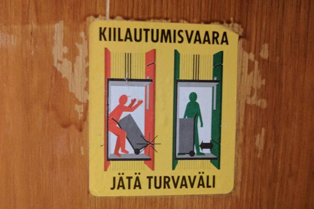 Elevator warning sign in Helsinki apartment building