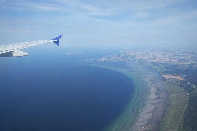 Øresund Straight under an A320 wing