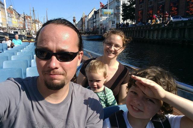 Jaeger, Julian, Kiesa, and Calvin on a canal boat tour in Copenhagen