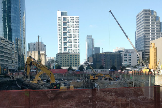 Excavating the foundation of the Folsom Bay Tower
