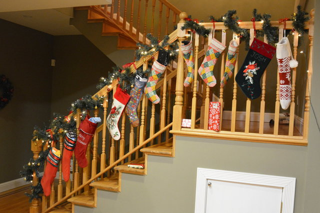 Stockings hung up on the banister with care