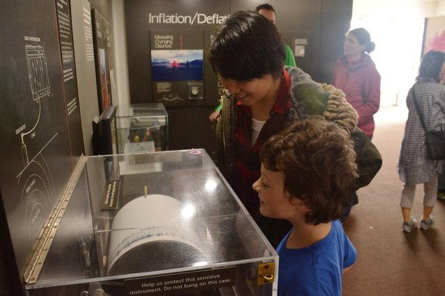 Sasa and Calvin investigate the seismograph at the Jaggar Museum