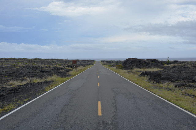 Chain of Craters Road descends to the ocean