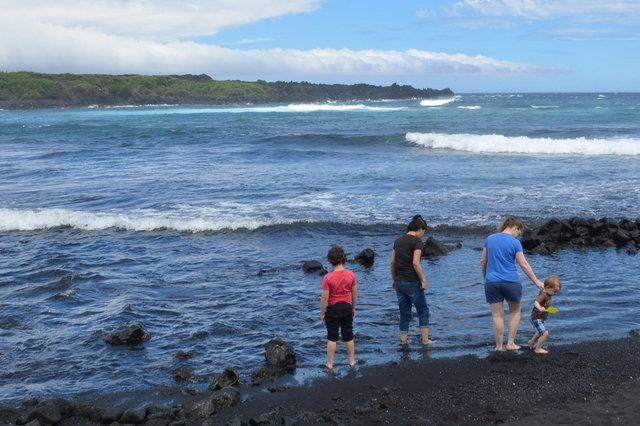 Calvin, Sasa, Kiesa and Julian at Punalu'u Black Sand Beach