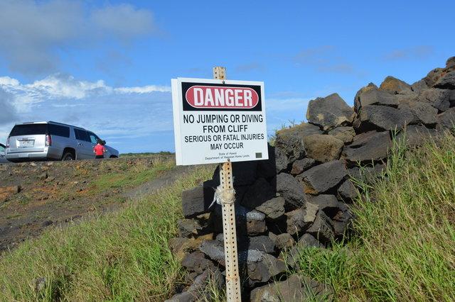 Warning sign at South Point