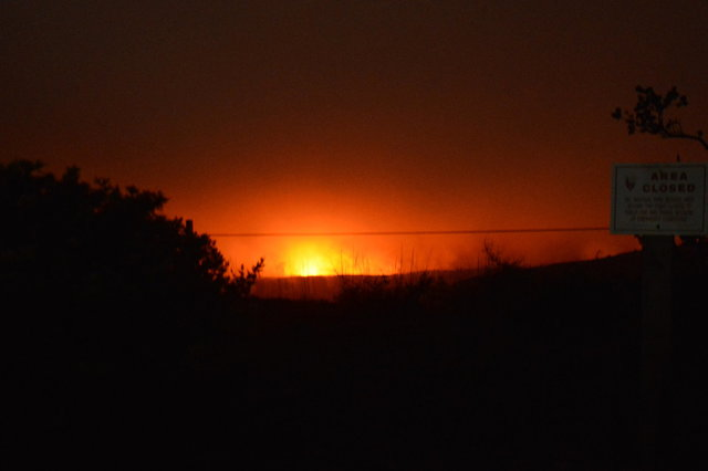 Halema'uma'u crater glowing after dark