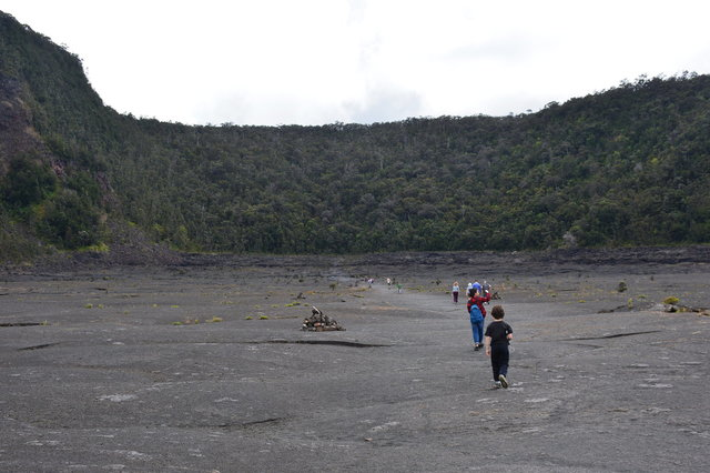 Sasa and Calvin hike through Kilauea Iki Crater