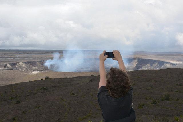 Calvin photographs lava erupting in Halema'uma'u Crater