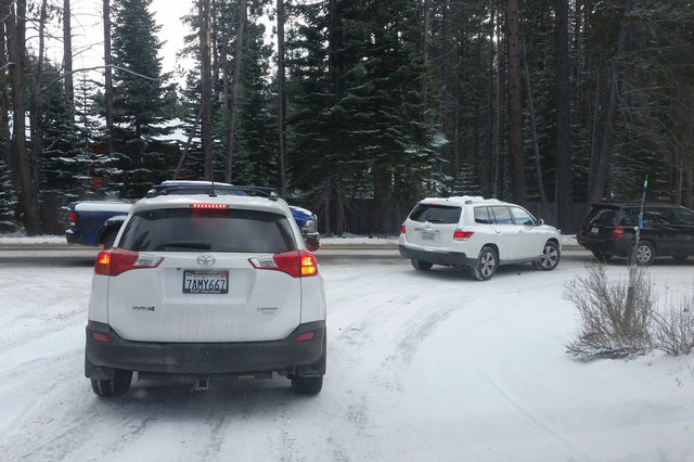 Cars crowd onto the road in South Lake Tahoe