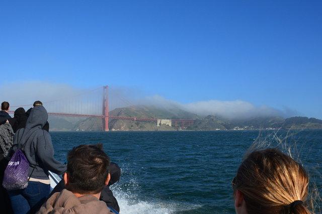 Whale-watching tourists approaching the Golden Gate Bridge