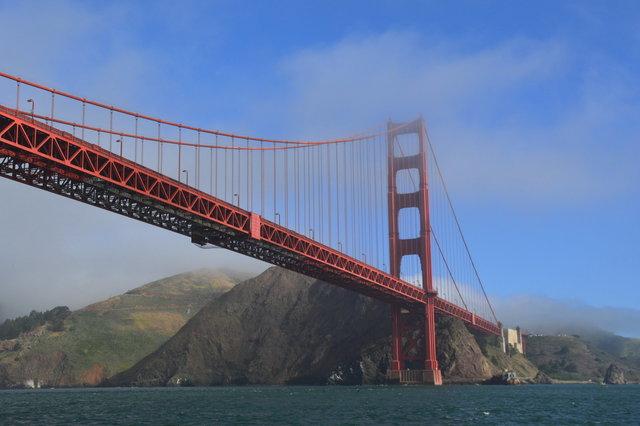 Nothern end of the Golden Gate Bridge in light fog