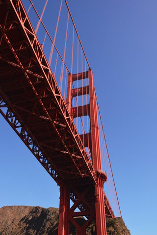 Under the north tower of the Golden Gate Bridge
