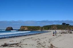 Julian, Calvin, and Kiesa on the beach at Andrew Molera State Park