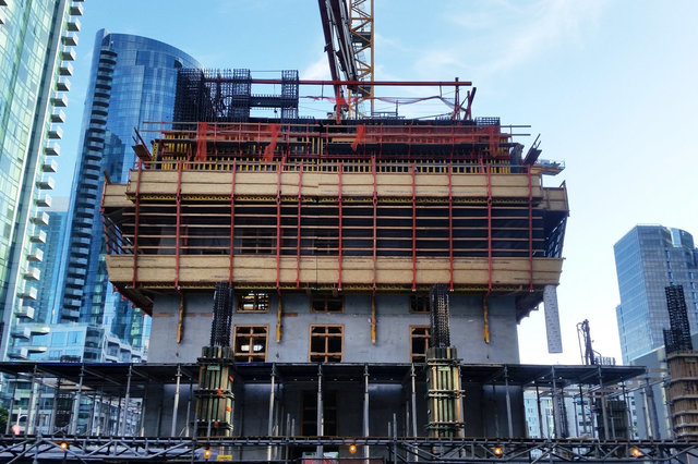 Core of Folsom Bay Tower climbs above ground