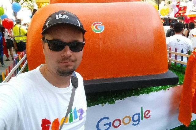 Jaeger behind the Google float for Pride