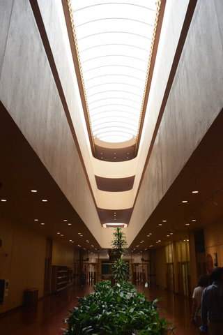 Looking up into the atrium inside the Marin County Civic Center