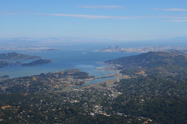 Looking down on San Francisco and the Bay