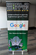 Worldcon 76 banner with Google the Galactic Sponsor