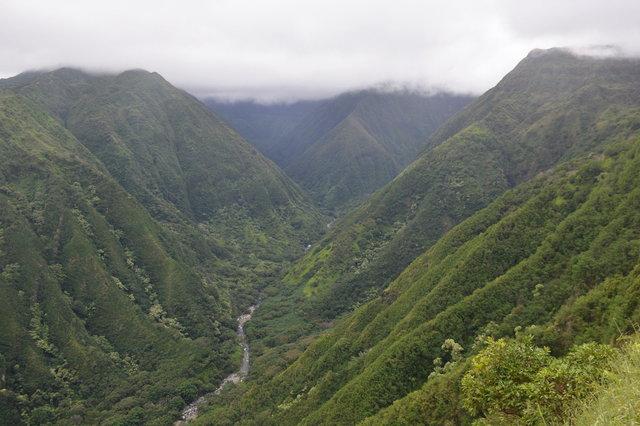 Huluhulupueo Stream under low clouds on Maui
