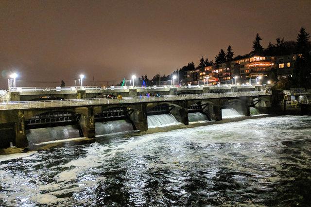 Spillway at Ballard Locks at night
