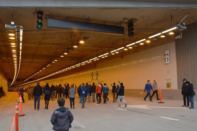 Calvin walks into the SR-99 tunnel