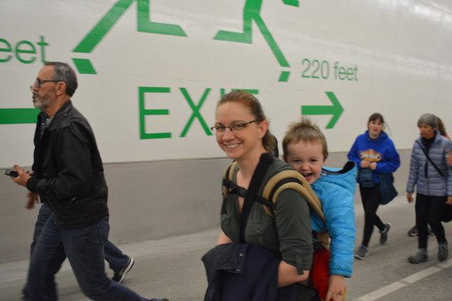 Kiesa and Julian walk through the SR-99 tunnel