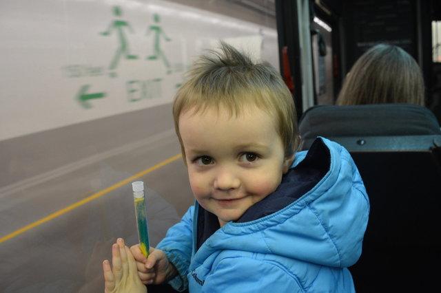 Julian rides the shuttle bus back through the SR-99 tunnel
