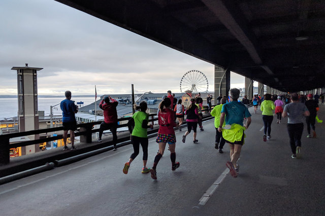 Running on the lower deck of the Alaskan Way Viaduct