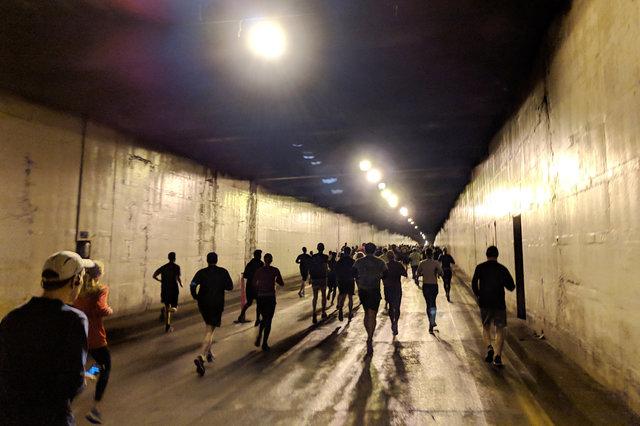 Running through the Battery Street Tunnel