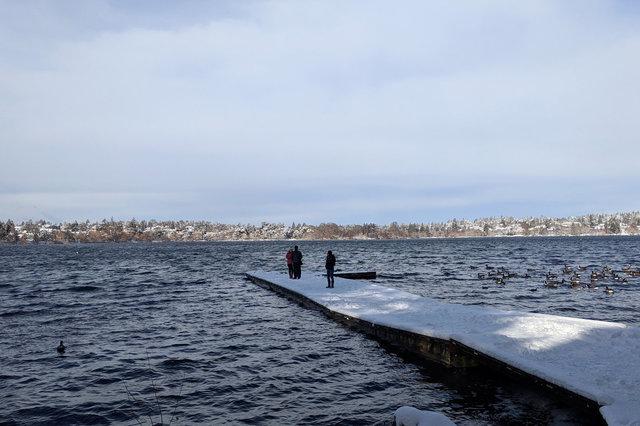 Snowy pier at Green Lake