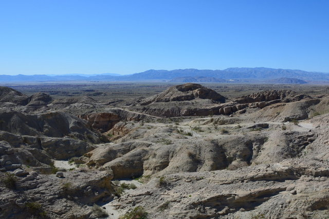 Looking down over Palm Tree Wash and the Borrego Badlands