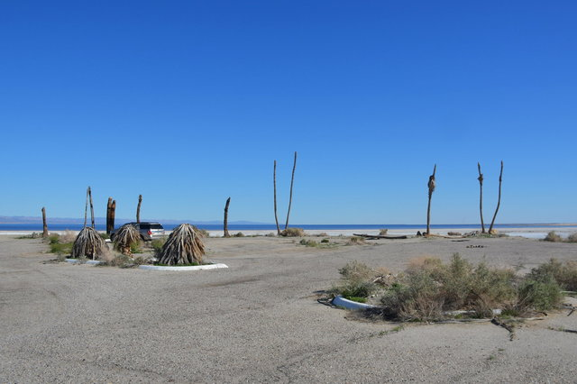 Abandoned yacht club on the shore of the Salton Sea