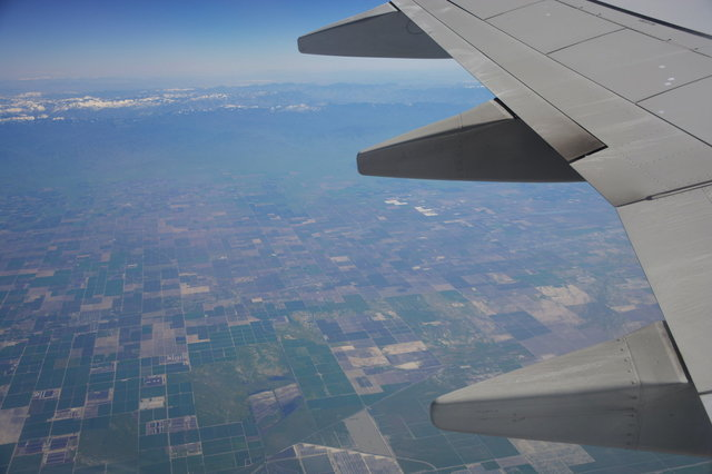 Looking down on the Central Valley from a 737
