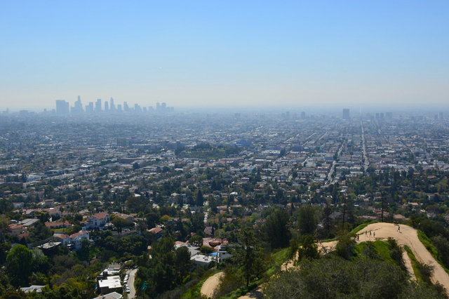 Downtown Los Angeles looms in the haze