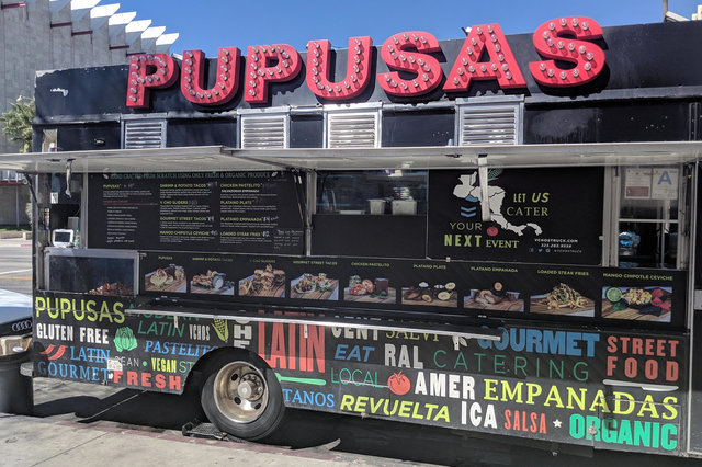 Pupusas food truck parked on Wilshire in front of LACMA
