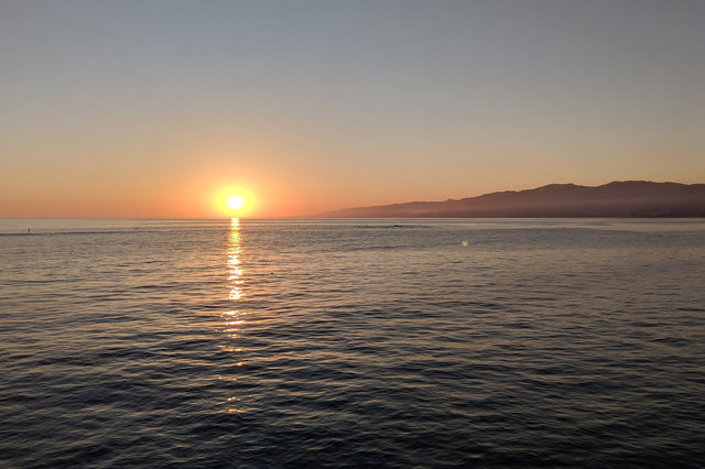 Sun sets over the Pacific Ocean from Santa Monica