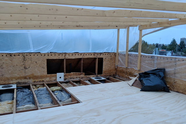 Roof deck partially installed in Wallingford