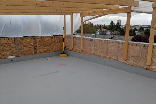 Roof deck installed and sealed